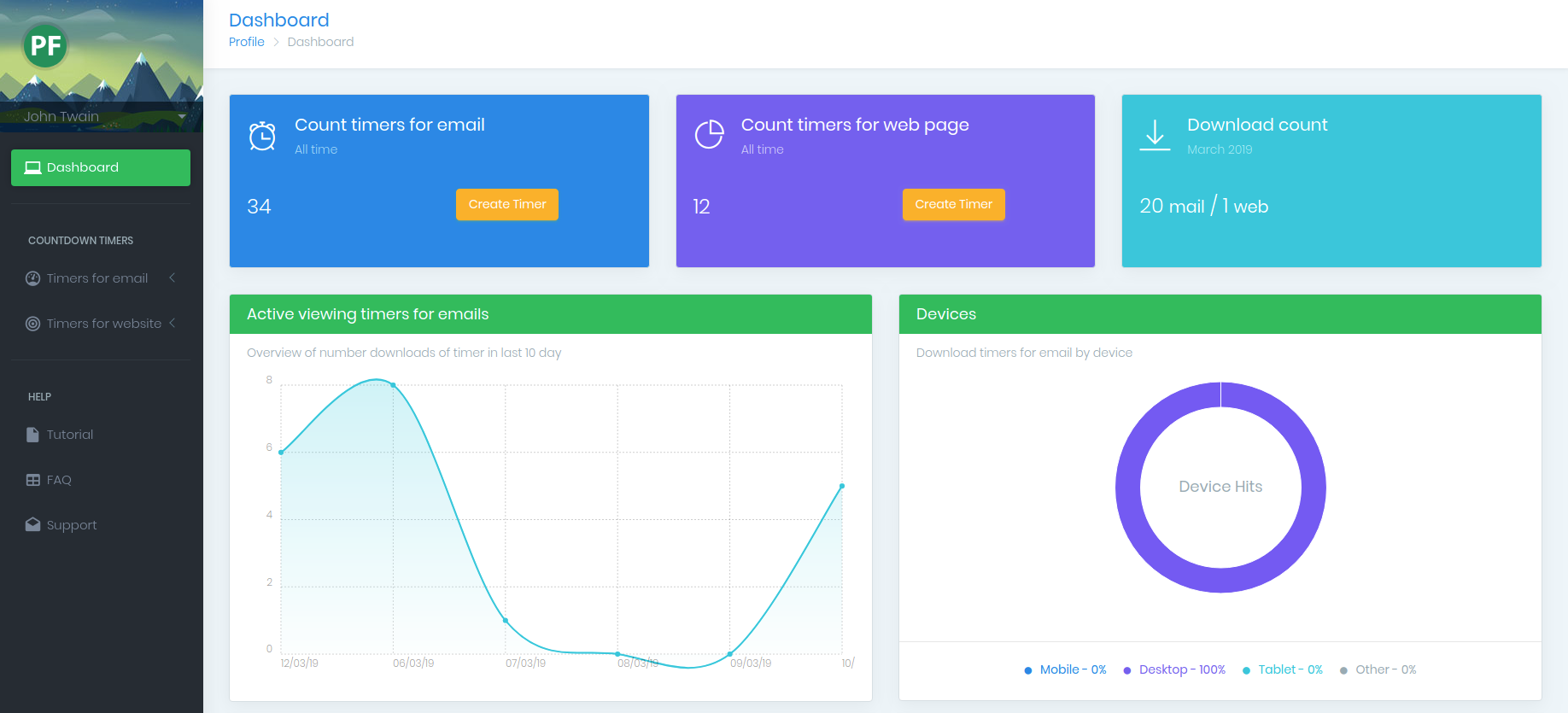 PromoFeatures Dashboard | Create countdown timers