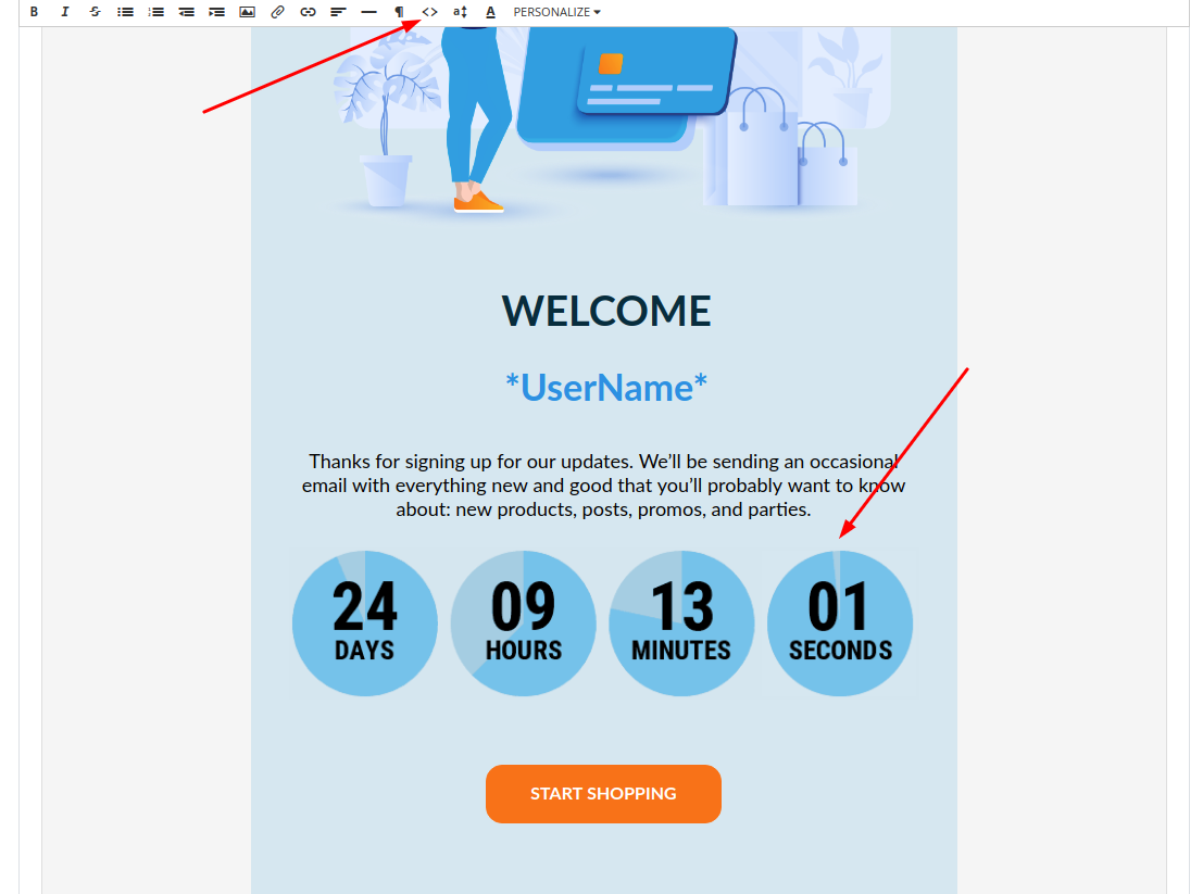 Animated countdown timer for email in ConvertKit