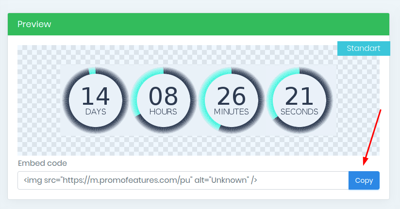 PromoFeatures countdown timer