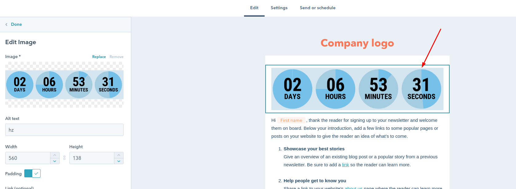 Countdown timer for email in HubSpot