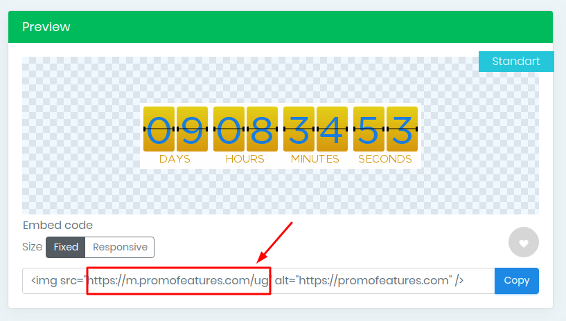 PromoFeatures countdown timer for email
