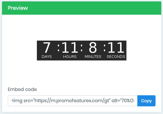 Countdown timer embed code