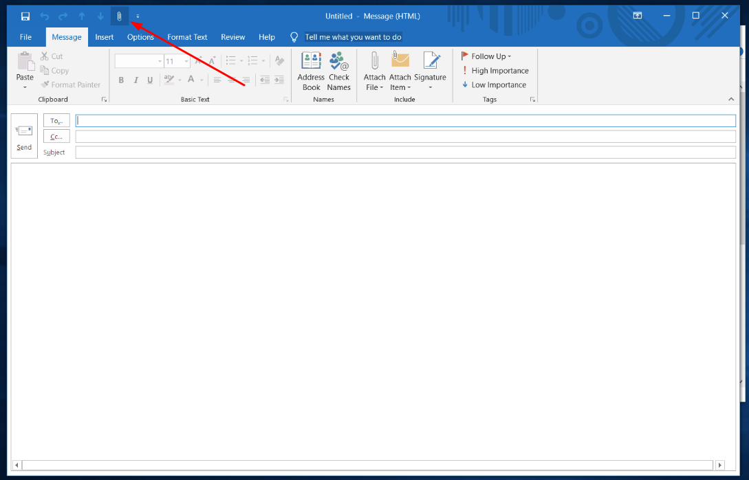 Outlook attach file
