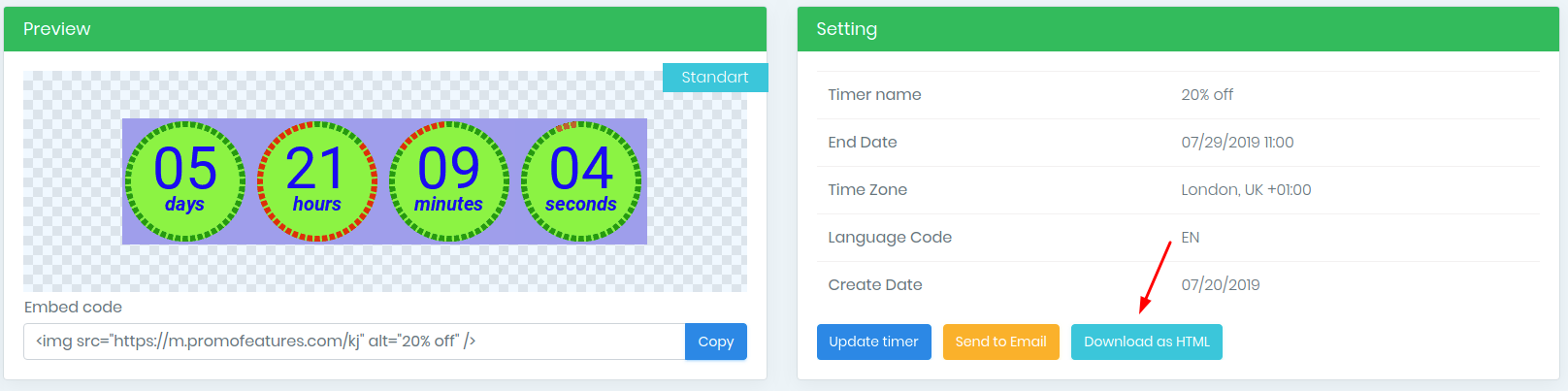 Download timer as Html