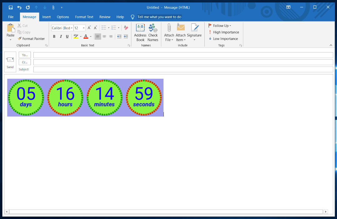 Outlook countdown timer