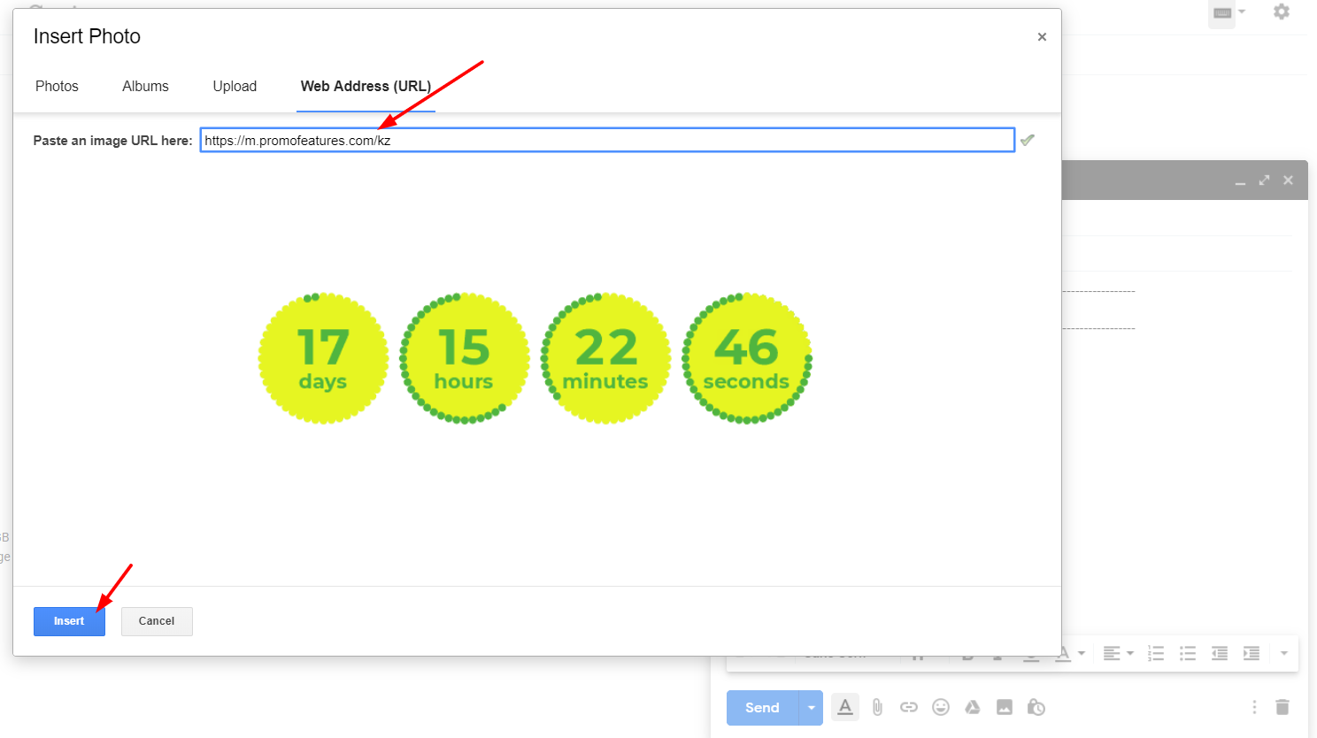 Countdown clock in gmail