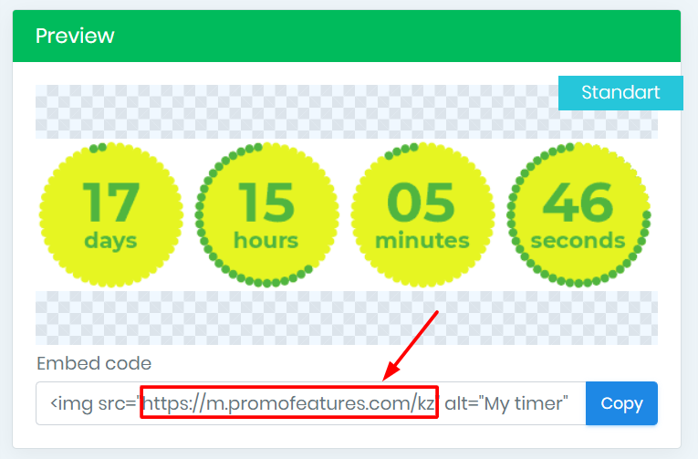 countdown timer for email embed code